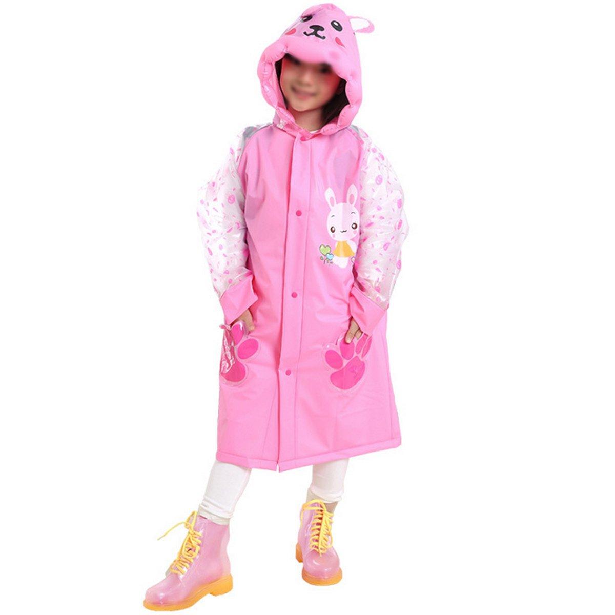 Felice Kids Cute Cartoon Raincoat Children's Waterproof Hooded Rainwear Slicker with Backpack Cover