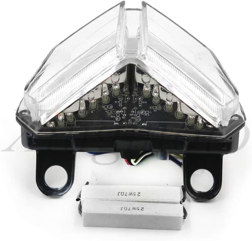 1198S 1198 Fanale posteriore a LED trasparente per moto 1098S 848 1098R 1198R EVO//Corse SE con indicatori di direzione integrati per Ducati 1098 NBX