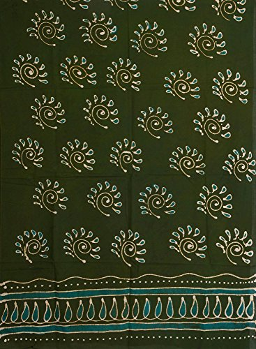 Chive-Green Batik Dyed Curtain with Large Printed Bootis - Pure Cotton