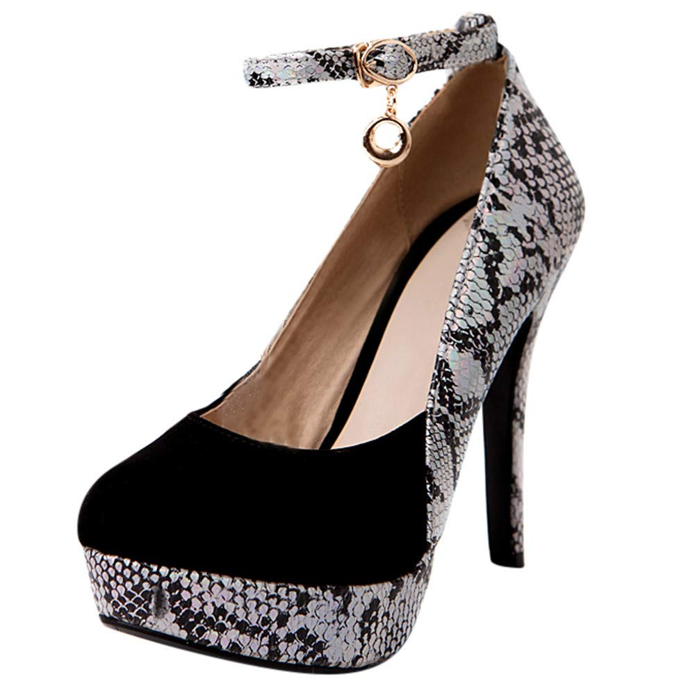 Dacawin Women Fashion Sexy Snakeskin Round Toe Buckle-Strap High Heel Shoes (Black, Tag Size 39=US:7.5) by Dacawin