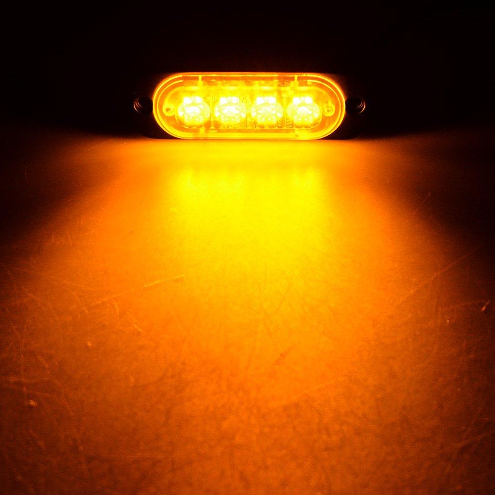 4pcs Amber//White Ultra Slim 12W 4-LED Warning Emergency Construction Strobe Lights For Car Truck 4x4 ATV UTV SUV Van Astra Depot LED Warning Emergency Flashing Strobe Light