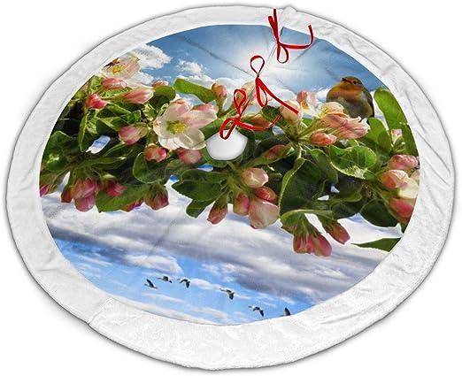 Amazon Com Bnluxuny Gulf Fritillary Butterfly And Bird On Cherry Blossom Flower Christmas Tree Skirt Party Holiday Decorations Xmas Ornaments Tree Skirt Home Kitchen