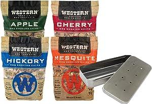 Western Premium Wood Smoking Chip Variety (Pack of 4) Bundled with Grill Mark Smoker Box