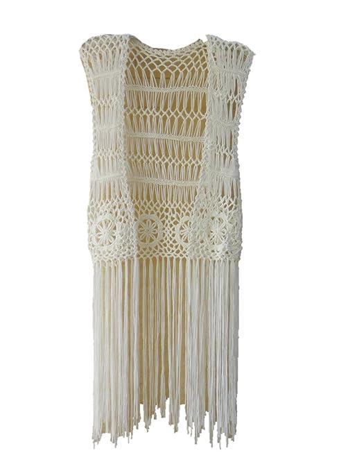 Amazon.com: Larga Fringe Chaleco Crochet Bikini Traje De ...