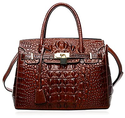 PIJUSHI Women's Handbags Crocodile Top Handle Satchel Bags Designer Padlock Handbags For Women P10103