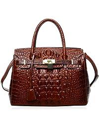 Women's Handbags Crocodile Top Handle Satchel Bags Designer Padlock Handbags For Women P10103