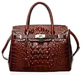 PIJUSHI Women's Padlock Handbags Genuine Leather Tote Crocodile Bag Best Holiday Gift P10103 (30CM crocodile brown)