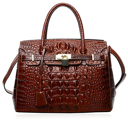 PIJUSHI Women's Padlock Handbags Genuine Leather Tote Crocodile Bag Best Holiday Gift P10103 (30CM crocodile brown) by PIJUSHI