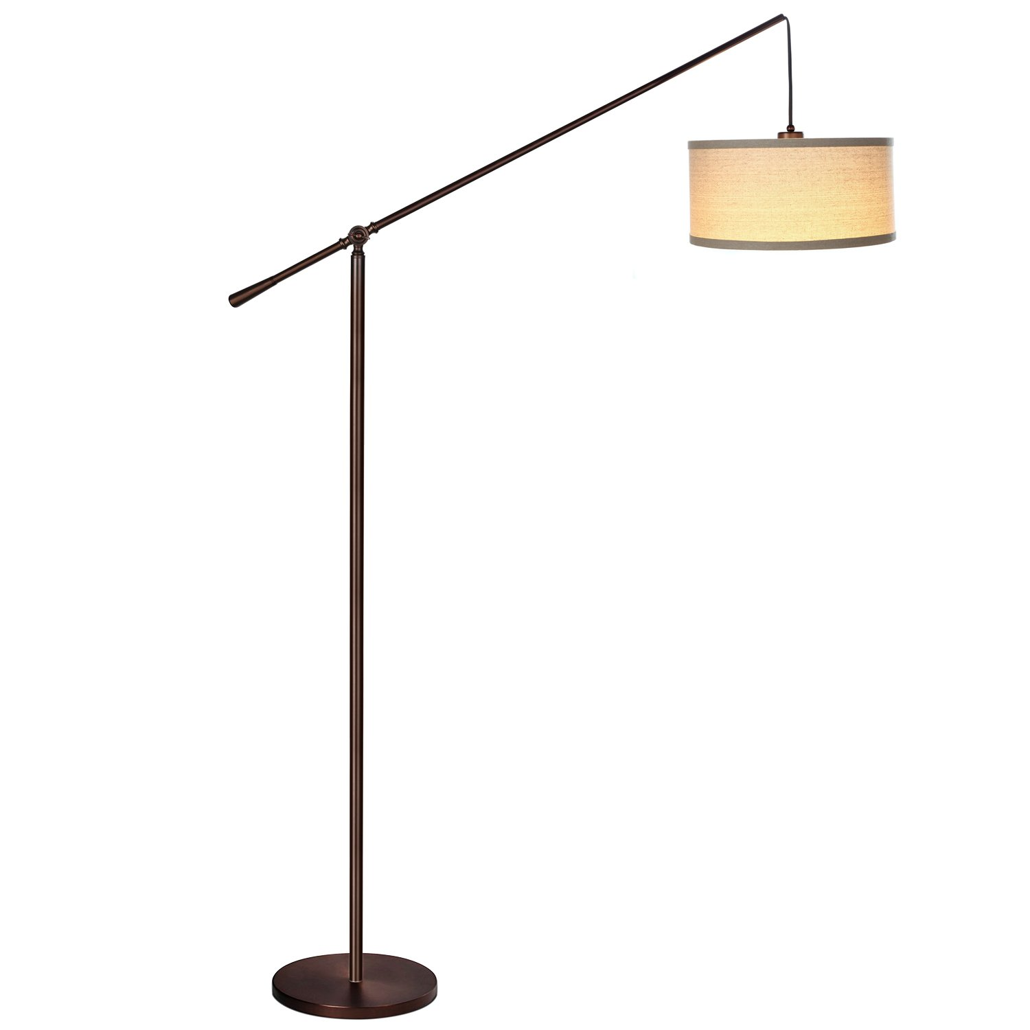 Brightech Hudson Pendant Floor Lamp – Classic Elevated Crane Arc Floor Lamp with Linen-Textured Hanging Lamp Shade- Tall, Industrial, Adjustable Uplight Lamp for Living Room, Office, or Bedroom Bronze