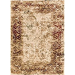 "Well Woven Astria Beige Vintage Floral Beige & Red Area Rug Traditional 8 x 11 (7'10"" x 10'6"") Modern Distressed"