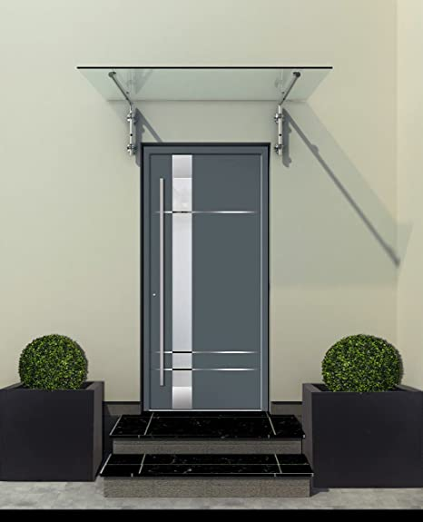 Typ - B Halterung, inkl. 2x Edelstahlhalterung Edelstahlhalterunen 120x90cm Glasvordach Vordach Pavillion T/ürvordach Haust/ürvordach VSG-Glas inkl