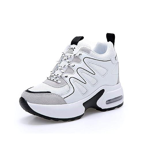 AONEGOLD Sneakers Zeppa Donna Scarpe da Ginnastica Sportive Fitness Scarpe  con Zeppa Interna Tacco 7 cm bf5027deb90