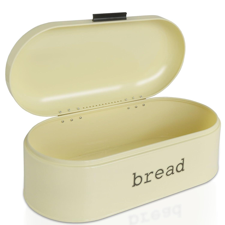 Brotbox im Retro Design aus Metall in Zwei Gr/ö/ßen optimale Luftzirkulation Creme Beige B//T//H: 33,6x18,4x15,7 cm casa pura Brotkasten Karl
