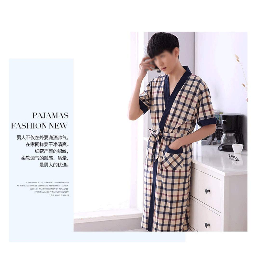 HUIFANG New Summer Mens Fashion Cotton Thin Short-Sleeved Robe Cardigan Pajamas Long Bathrobe Color : C, Size : XXL