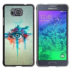 Caucho caso de Shell duro de la cubierta de accesorios de protección BY RAYDREAMMM - Samsung GALAXY ALPHA G850 - Watercolor Painting Eye Art Blue Drawing