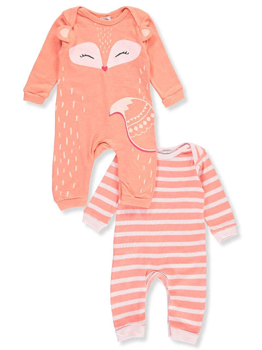 Quiltex Girls Toddler Little Fox Racoon Print Cute Novelty Coverall 2 Pack Set