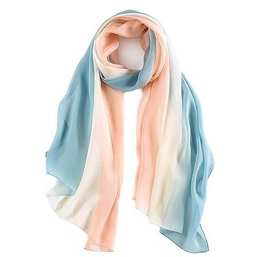 pañuelo de seda Mujer 100% seda Mantón Bufanda Moda Chals Señoras Elegante Estolas Fular 70,8 x 27,...