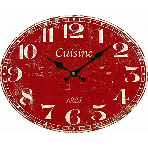 Horloge Pendule cuisine rouge Antic Line