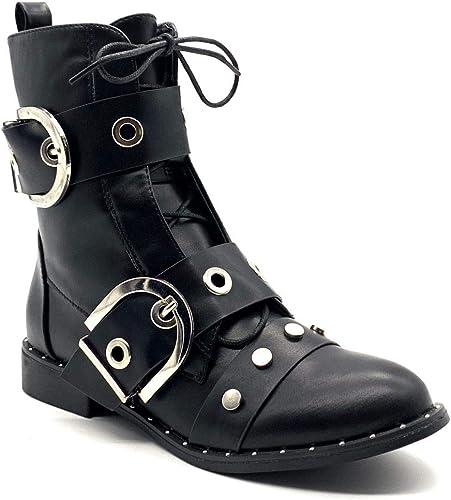 Angkorly Damen Schuhe Stiefeletten Stiefel Biker