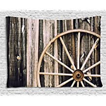 Barn Wood Wagon Wheel Tapestry by Ambesonne, Wooden Barn Door and Vintage Rusty Wheel Rustic Home Farm, Wall Hanging for Bedroom Living Room Dorm, 80 W X 60 L Inches, Black Light Brown