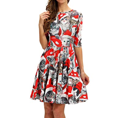 Amazoncom Fedulk Sale Womens Christmas Dress Cat Print