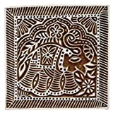Square Shape Wooden Block Elephant Design Handcrafted Traditional Fabric Stamp