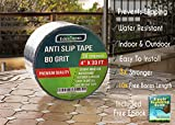 EdenHomes Heavy Duty Anti Slip Traction Tape, 4 inch x 33 Foot Grip Tape Grit Non Slip, Outdoor Best Non Skid Stair Treads, High Traction Friction Abrasive Adhesive Stairs Step - Black
