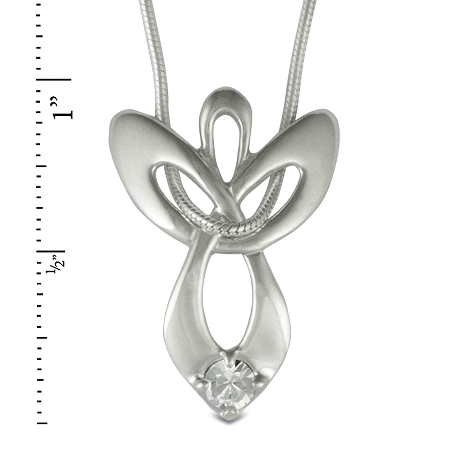d0730091b Amazon.com: Loving Family Sterling Silver April Swarovski Crystal Guardian  Angel Necklace - 16