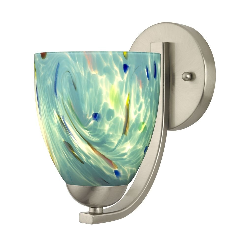Sconce with Turquoise Art Glass in Satin Nickel Finish - Wall ...