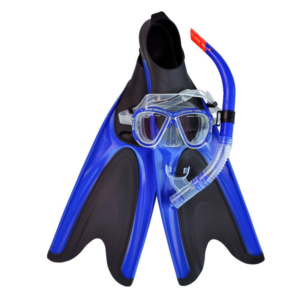 L-XL Vaxiuja-diving Palmes de plongée Snorkeling Swim Fin Palmes de plongée Ajustables, Masque de plongée en Verre trempé et Tuba Sec pour Adultes, Hommes et Femmes
