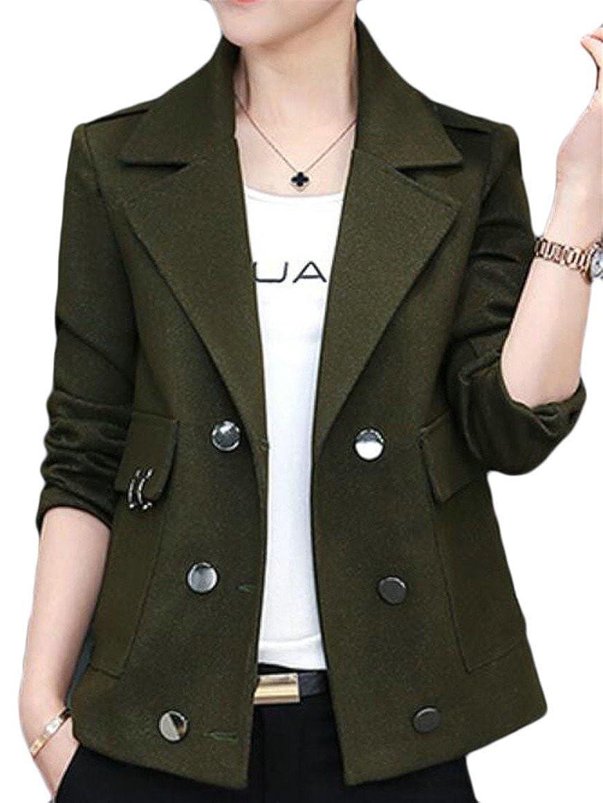 1 GAGA Women's Lapel Slim Fit Cotton Solid color Blazer Jacket Coat