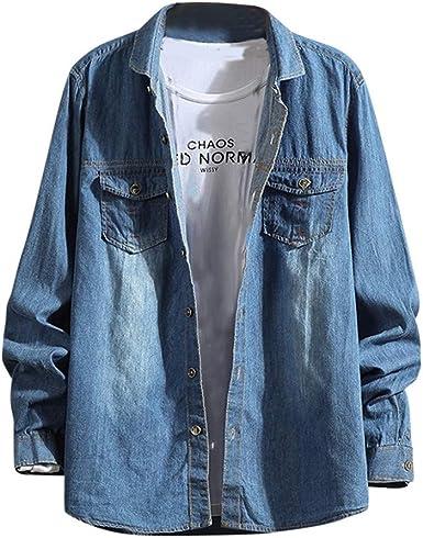 Camisa Vaquera Hombre Manga Larga Camisa de Mezclilla para ...