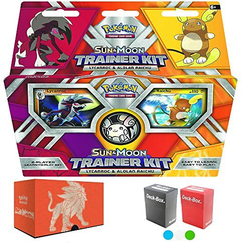 Pokemon Sun and Moon Trainer Kit: Lycanroc and Alolan Raichu, with Elite Trainer Storage Box and 2 Deck Boxes by Assortmart