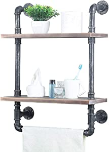 Industrial Bathroom Shelves Wall Mounted 2 Tiered,Rustic 19.68in Pipe Shelving Wood Shelf with Towel Bar,Farmhouse Towel Rack,Metal Floating Shelves Towel Holder,Iron Distressed Shelf Over Toile