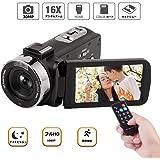 ビデオカメラ デジタルカメラ フルHD 1080p カムコーダー 128GBカード対応 HDMI機能付き 16倍率デジタルズーム ナイトビジョン 夜間カメラ 一時停止機能 3.0インチLCD 270°回転液晶画面 日本語説明書同梱