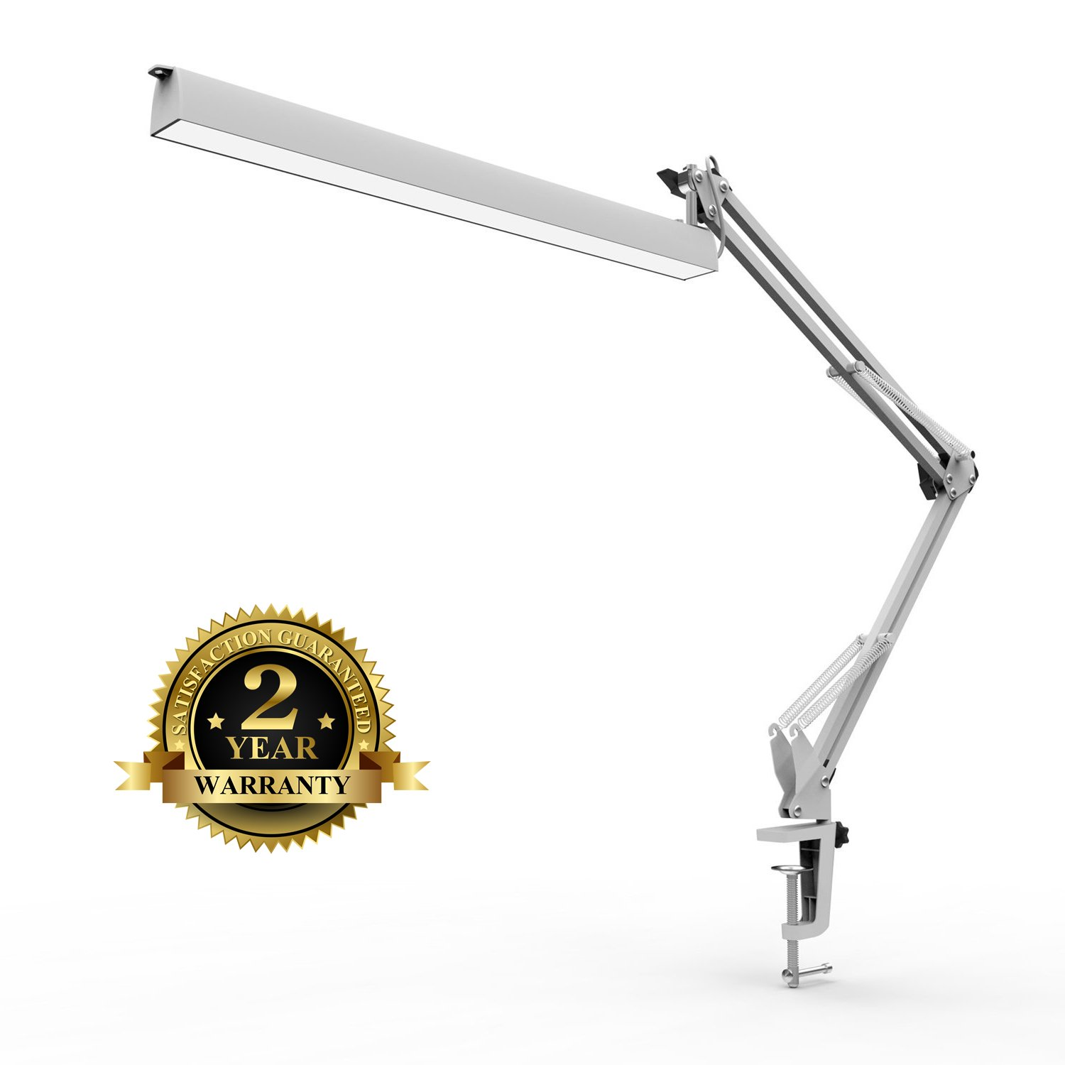 Metal Swing Arm led desk lamp clamp, Seaklight Architect Task Lamp / Drafting Table Lamp Work Light, 3 Level Dimmer with Touch Control,Highly Adjustable Arm, White