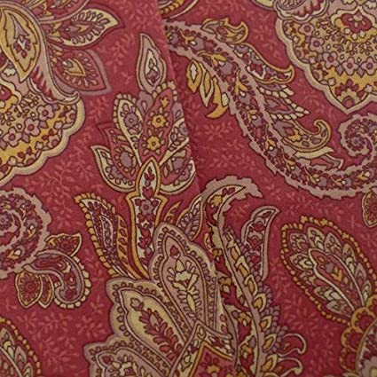 Amazon.com: Designer Cotton Paisley Red/Beige Print Home Decorating ...
