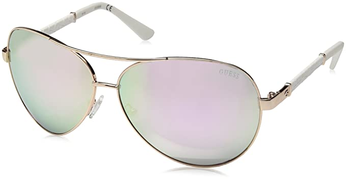 GUESS Mujer Cuero Aviator Gafas de sol: Amazon.es: Ropa y ...