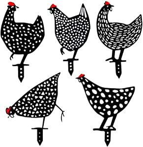 5pcs Chicken Yard Art Garden Stake Chicken Yard Sign Hollow Out Animal Shape Stand Decoration Ornament for Outdoor Gardens Backyards Lawns