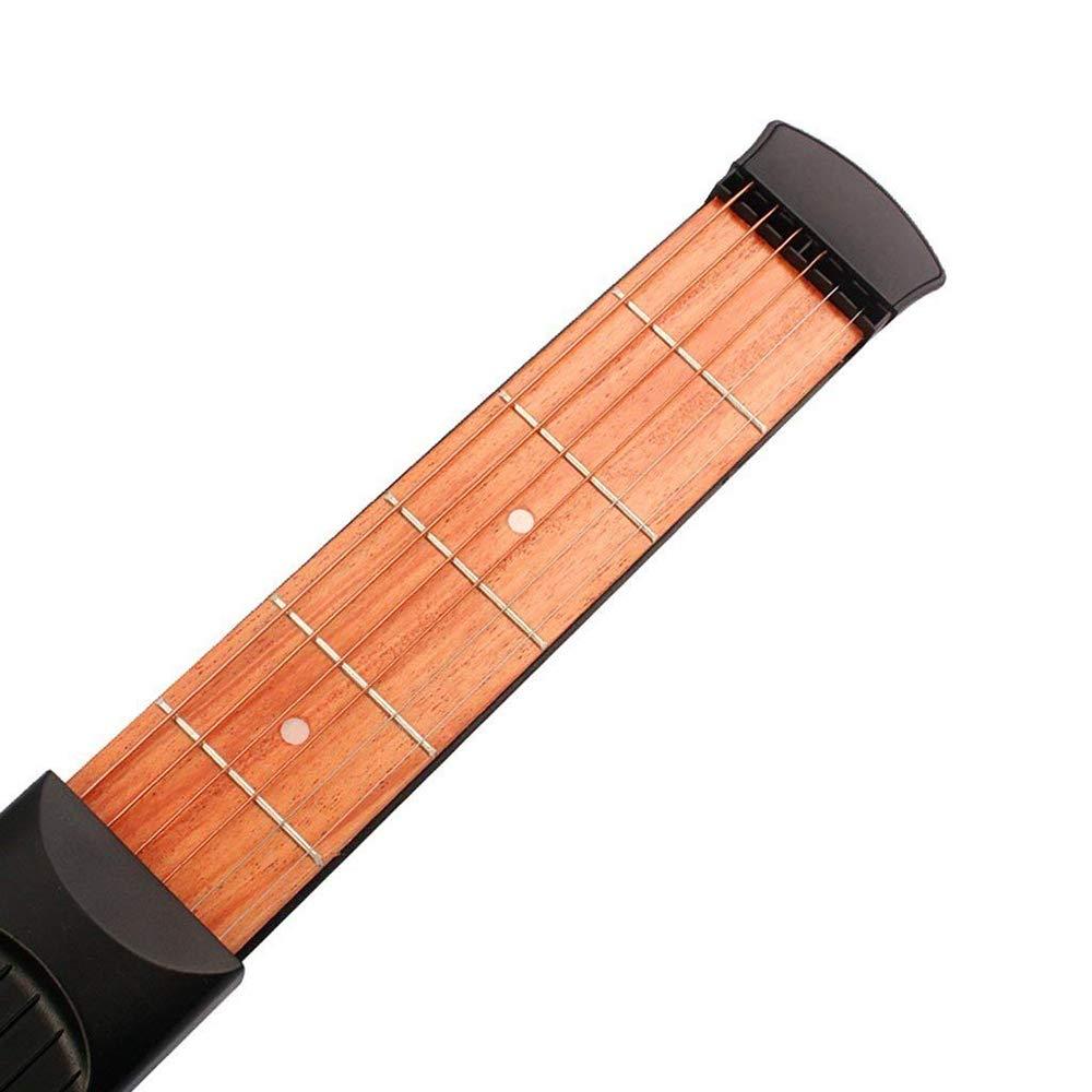 Ogquaton Herramienta de pr/áctica de guitarra ac/ústica Guitarra de madera port/átil Pr/áctica de dedo Guitarra de bolsillo para principiantes 1 piezas