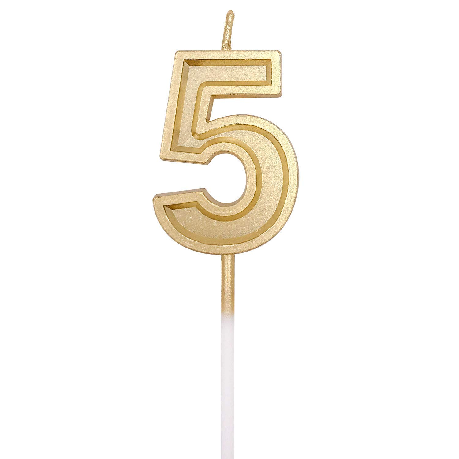 URAQT Birthday Candles Numbers Weddings Number 2 Reunions Gold Glitter Birthday Numeral Candles for Birthdays Theme Party