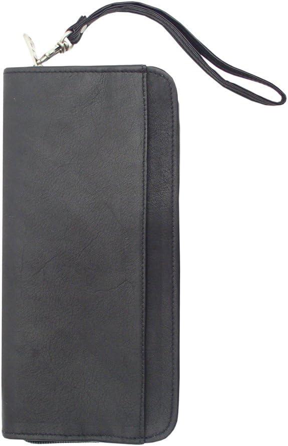 One Size Piel Leather Zippered Passport Ticket Holder Black