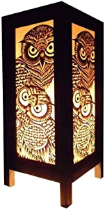 Thai Vintage Handmade Asian Oriental Night Owl Bird Lamp Bedside Table Lights or Floor Wood Paper Lamp Home Decor Bedroom Decoration Modern Design from Thailand