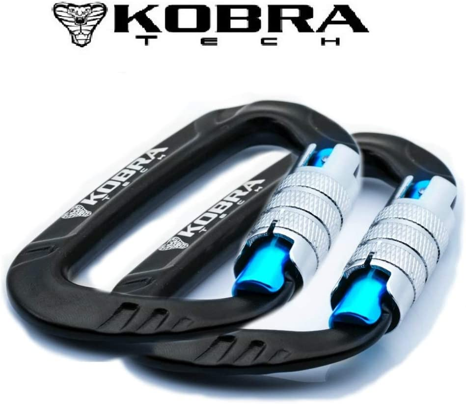 """Kobra Tech Strong Aluminum D Shape 12 KN, Lightweight Carabiner Clip 3"""" with Twist Auto Lock Gate for Hiking and Outdoor use Comes with Bonus !!!"""