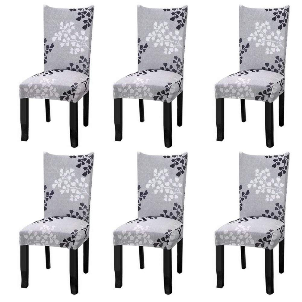 Fuloon Super Fit Stretch Removable Washable Short Chair Protector Cover Seat Slipcover for Hotel,Dining Room,Ceremony,Banquet Wedding Party (6 Per Set,A) by Fuloon