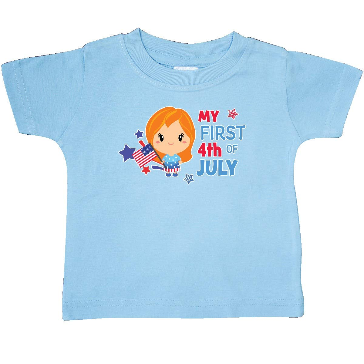 Stars and Flag Baby T-Shirt inktastic My First 4th of July with Red Haired Girl