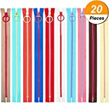 #6: TecUnite 20 Pieces Plastic Resin Zippers with Lifting Ring Quoit Colorful Zipper for Tailor Sewing Crafts Bag Garment (16 Inch)