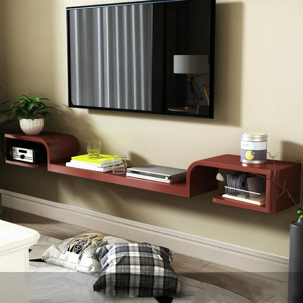 ウォールシェルフ ウォールシェルフウォールマウントテレビキャビネットシェルフ背景壁装飾シェルフテレビコンソールリビングルームベッドルームセットトップボックス収納ラック (色 : Brown140cm) B07K8KCZK8 Brown140cm