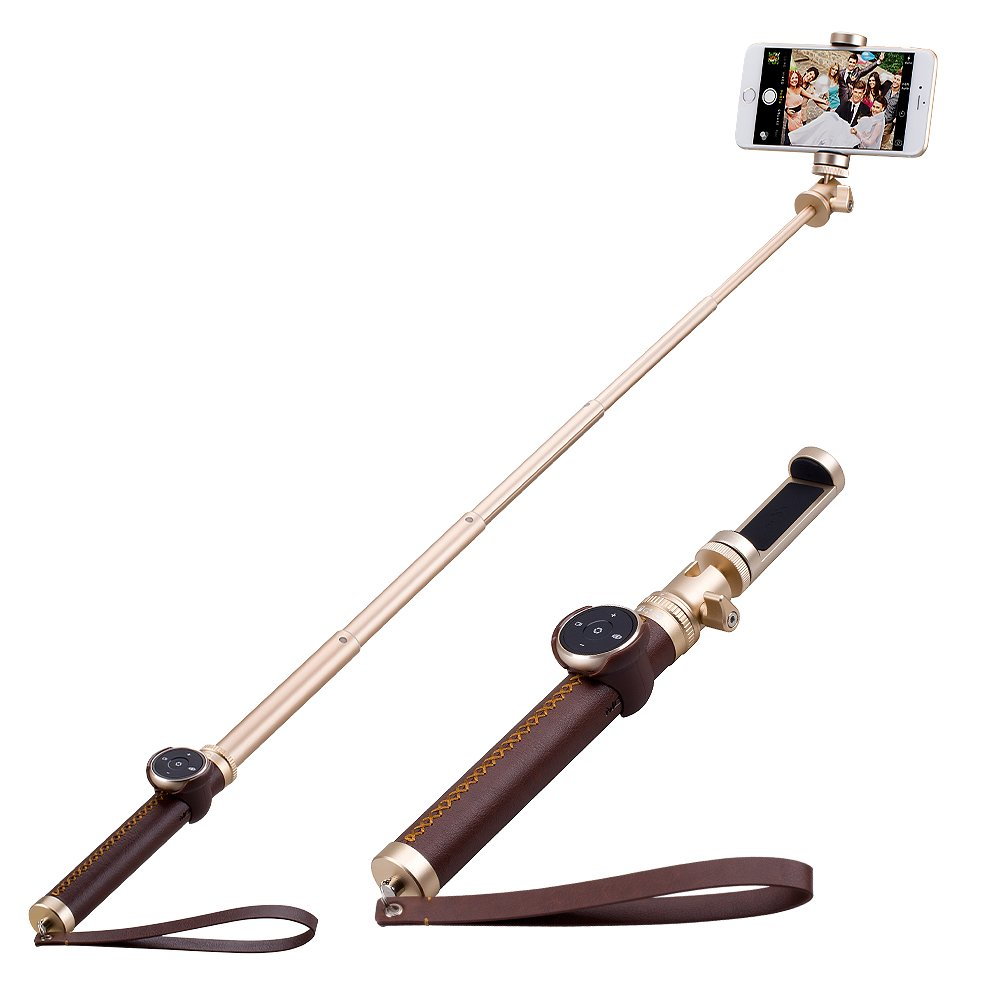 MOMAX Wireless Selfie Stick, Luxe Elite Bluetooth Romote Shutter Selfie Pod (35'' Champagne)