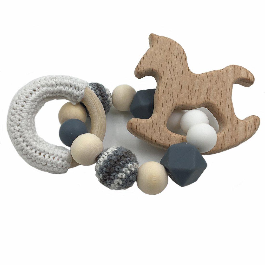Coskiss Beb/é de madera de haya Mordedor caballo de madera para la dentici/ón Montessori juguetes del traqueteo del beb/é de bricolaje masticables ganchillo perlas pulseras Azul